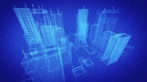 architectural blueprint of contemporary buildings blue tint 4k