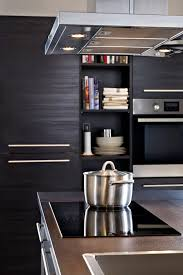 black wood grain ikea tingsryd cabinets w open shelves for cook