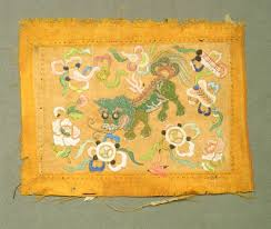 gold foo dogs embroidery blue and green foo dog and flowers on gold famsf
