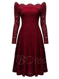 burgundy slash neck the shoulder s lace dress tbdress