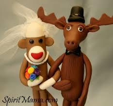 sock monkey moose wedding cake topper waxela wa shay la