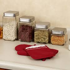 stainless steel canister sets kitchen wonderful clear glass kitchen canister set for pantry storage