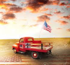 American Flag Sunset Vintage Vermelho Pegar Caminh Foto Royalty Free Gravuras Imagens