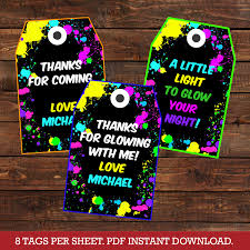 glow in the party decorations glow party favor tags glow in the party thank you tags