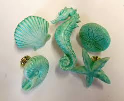 Beach Themed Cabinet Knobs Drawer Pulls Knobs Seashells Starfish Seahorse Sand Dollar