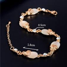 fashion jewelry charm bracelet images Gold color austrian crystal skull charm bracelets party chain jpg