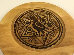wood plate wooden home accent woodburned arabesque plate