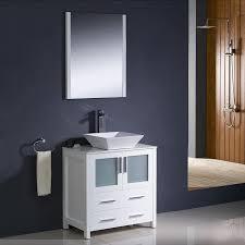 Vanities With Vessel Sinks Shop Fresca Bari White Single Vessel Sink Bathroom Vanity With