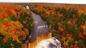 drone video shows fall colors tahquamenon falls paradise