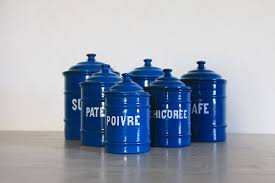 enamel kitchen canisters antique french enamel kitchen canister set of 6 petrol blue
