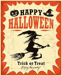 vintage halloween witch poster design u2014 stock vector donnay