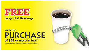 free large beverage with the purchase of 25 or more in fuel
