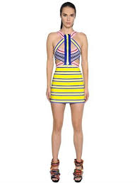 dsquared2 striped elastic bandage bodycon dress dresses