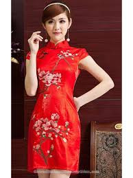 Chinese Wedding Dress Embroidered Magnolia Floral Cheongsam Red Chinese Wedding Dress