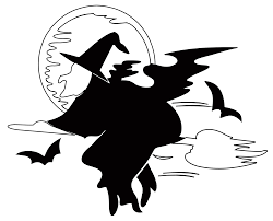 halloween black and white clipart lakeside witch over harvest moon halloween black white line art