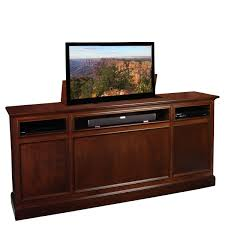 rectangular brown varnished wooden tv cabinet with storage and