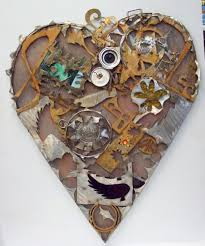 handmade home decor sign recycled art heart wall art by junk a