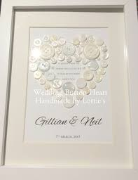 unique wedding present personalised handmade wedding gift beautiful framed button heart