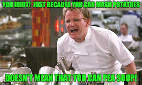 Mashed Potatoes Meme - you idiot just because you can mash potatoes doesn t mean that you