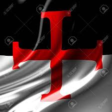 Black Flag With White Cross Templar Cross On A Black And White Flag Stock Photo Picture And