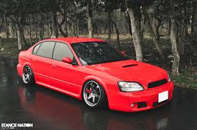 red subaru legacy from japan with fitment subaru legacy b4 blitzen