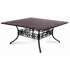 Square Patio Tables Meadow Decor 65 Inch Large Square Cast Aluminum Dining Table