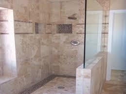 bathroom doorless shower ideas suspended rain shower head and hand
