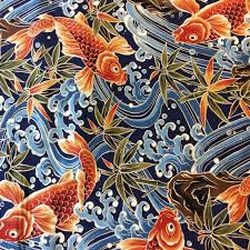 asian koi fish pond japanese water wave sea cotton