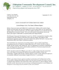 ecdc statement on syrian refugee crisis ethiopian community