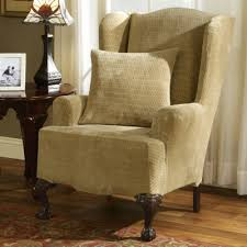 wing chair slipcover sure fit royal stretch wing chair slipcover
