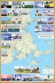 map rhode island massachusetts rhode island lighthouses illustrated map guide