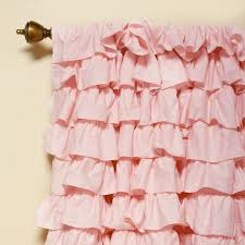 Ruffled Pink Curtains Small Waterfall Ruffle Blackout Curtain