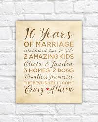 10 year wedding anniversary gifts for 10 year anniversary gift wedding anniversary decor rustic