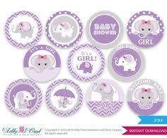 purple elephant baby shower decorations purple grey girl elephant baby shower cupcake toppers favor tags