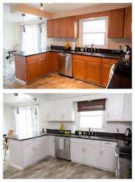 painting cherry kitchen cabinets white painted kitchen cabinet makeover
