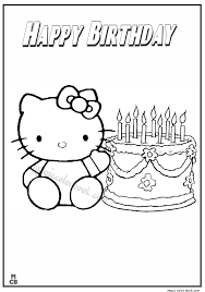 kitty happy birthday coloring pages