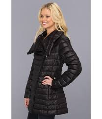 calvin klein packable down puffer w faux leather in black lyst