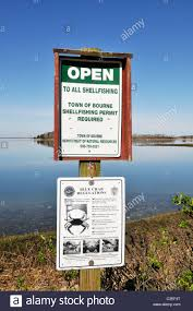 close up of open to all shellfishing sign with regulations for