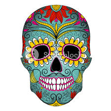 day of the dead colorful skull with floral ornament royalty free