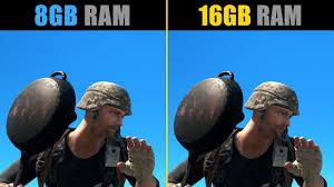 pubg 8gb ram vs 16gb ram youtube