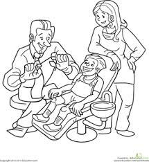 dentist coloring page worksheets kindergarten and themes