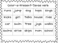 verbs present and past tense ed worksheet word work pinterest