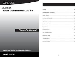 craig flat panel television clc503 user guide manualsonline com