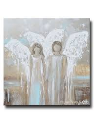 abstract angel painting canvas art 2 guardian angels wall art giclee print abstract angel painting pair of 2 angels holding hands grey white blue neutral home wall art
