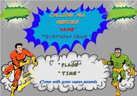 superhero birthday party invitations 30 word templates demplates