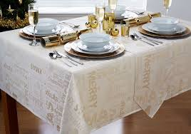 Xmas Text Gold Cream Christmas Table Runner 13x70in 33x178cm Approx