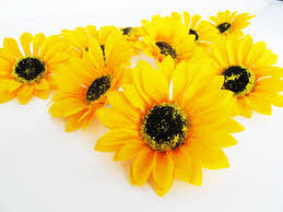 silk sunflowers 25 sunflowers artificial silk flowers big yellow sunflowers brown