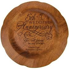 anniversary plates personalized personalized 5th wedding anniversary gift plate fifth year gifts