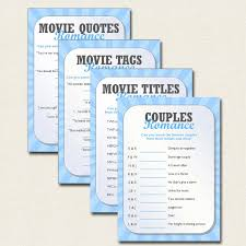 4 x games bridal shower hen party movie romance quiz pdf