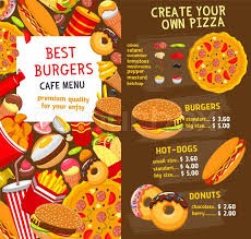 fast food restaurant burgers and sandwiches menu template vector